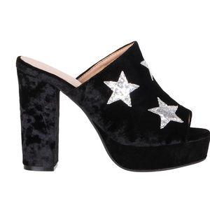 Black velvet slides mules platform star heels club